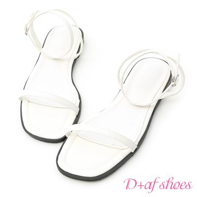 D+AF 純真美感.簡約一字繫踝平底涼鞋*白