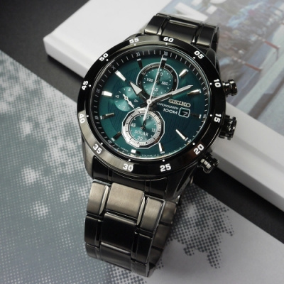 SEIKO 精工 criteria 三環 太陽能 不鏽鋼手錶-綠x鍍黑/43mm