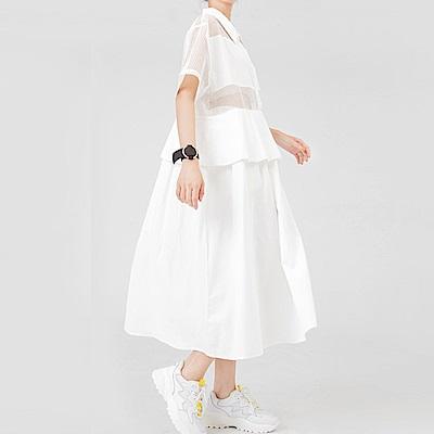 縷空網格假兩件拼接襯衫裙-(共二色)Andstyle