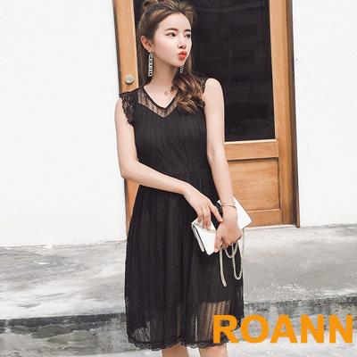 性感V領拼接蕾絲條紋無袖洋裝 (黑色)-ROANN
