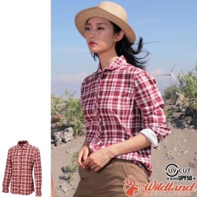 Wildland 荒野 0A72201-07酒紅色 女彈性針織格紋保暖襯衫