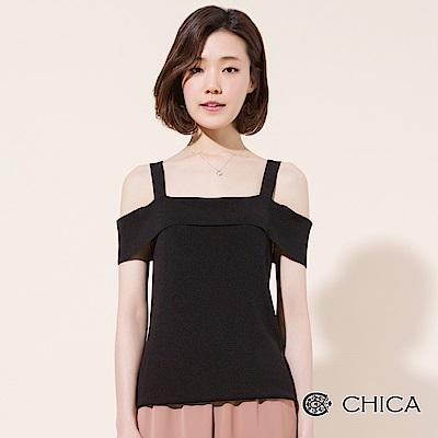 CHICA 復刻美學平口細帶露肩針織衫(<b>3</b>色)