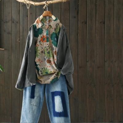 單色亞麻小西裝外套寬鬆西服上衣-設計所在