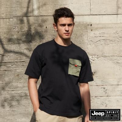 Jeep 男裝 極簡潮流百搭素面短袖T恤-黑色