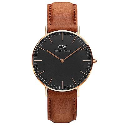 DW 手錶 36mm玫瑰金框 Classic Black 淺棕真皮皮革錶