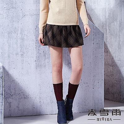 【麥雪爾】溫暖大地格紋短褲裙