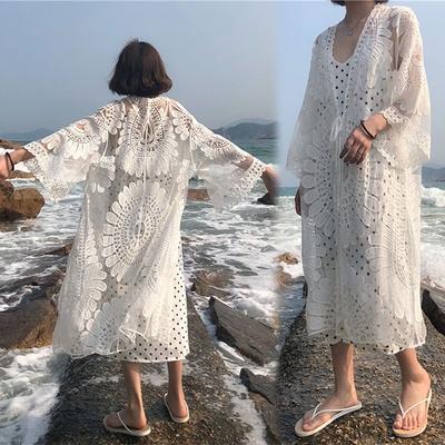 [韓國K.W.]-(預購)仙氣刺繡蕾絲薄款造型輕便外套