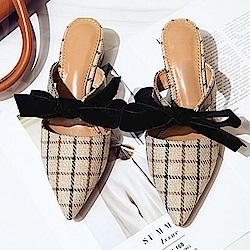 韓國KW美鞋館 名媛繽粉舒適粗跟拖鞋-杏色