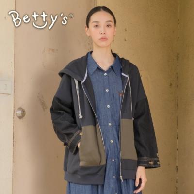 betty's貝蒂思 牛仔袖拼布連帽外套(藍黑色)
