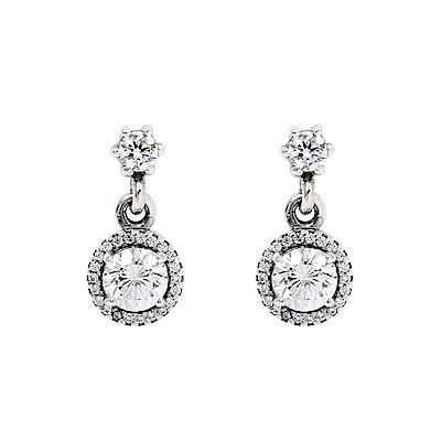 Pandora 潘朵拉 經典優雅鑲鋯 純銀耳環
