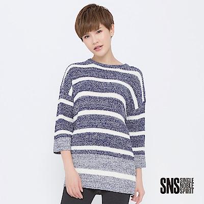 SNS 復古再現混色寬條紋長版針織衫(2色)
