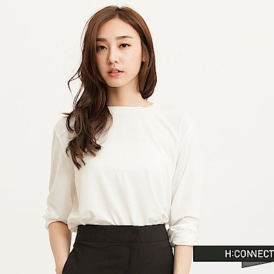 H:CONNECT 韓國品牌 女裝-質感純色垂墜長版T-Shirt-白(快)