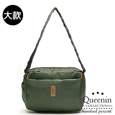DF Queenin流行 - 日系甜美輕盈反光條防潑水斜背包-大-綠色