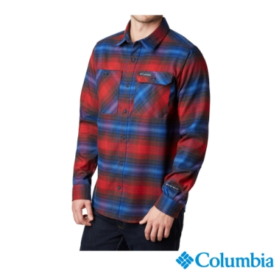 Columbia 哥倫比亞 男款-UPF50快排長袖襯衫-暗紅UAE02130