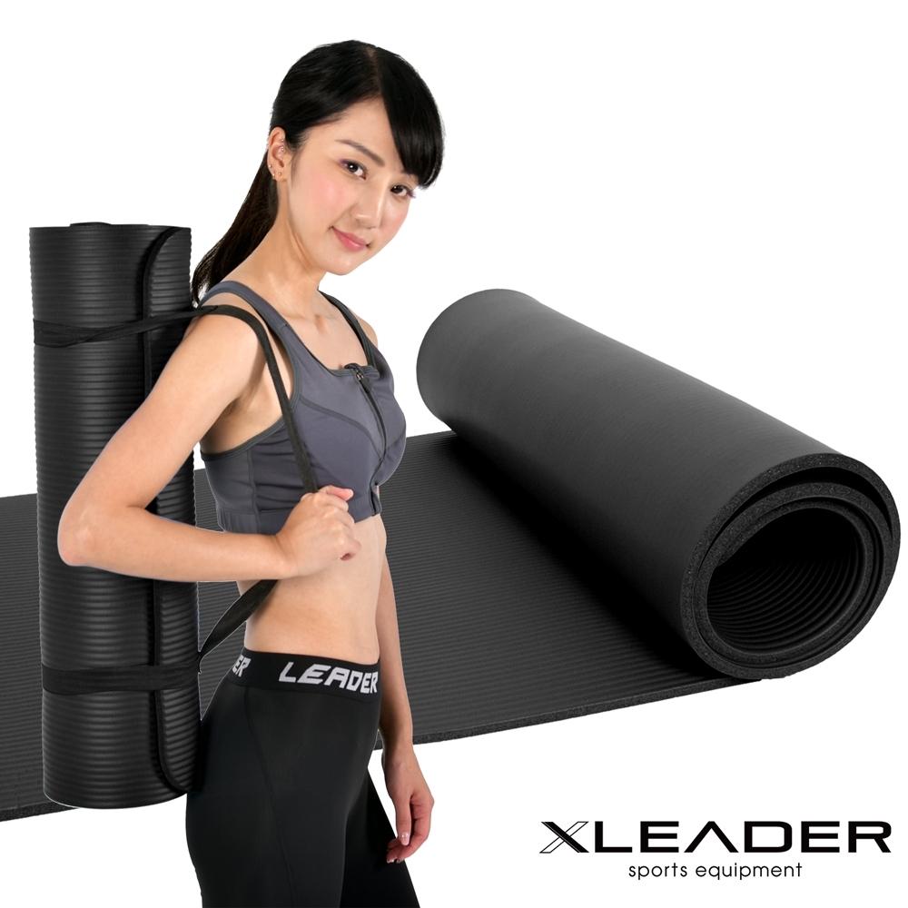 Leader X 環保NBR高密度加厚防滑瑜珈墊10mm附收納帶 黑色