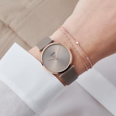 CLUSE Triomphe凱旋門系列腕錶(玫瑰金框/灰褐色錶面/灰褐色皮革錶帶)33mm