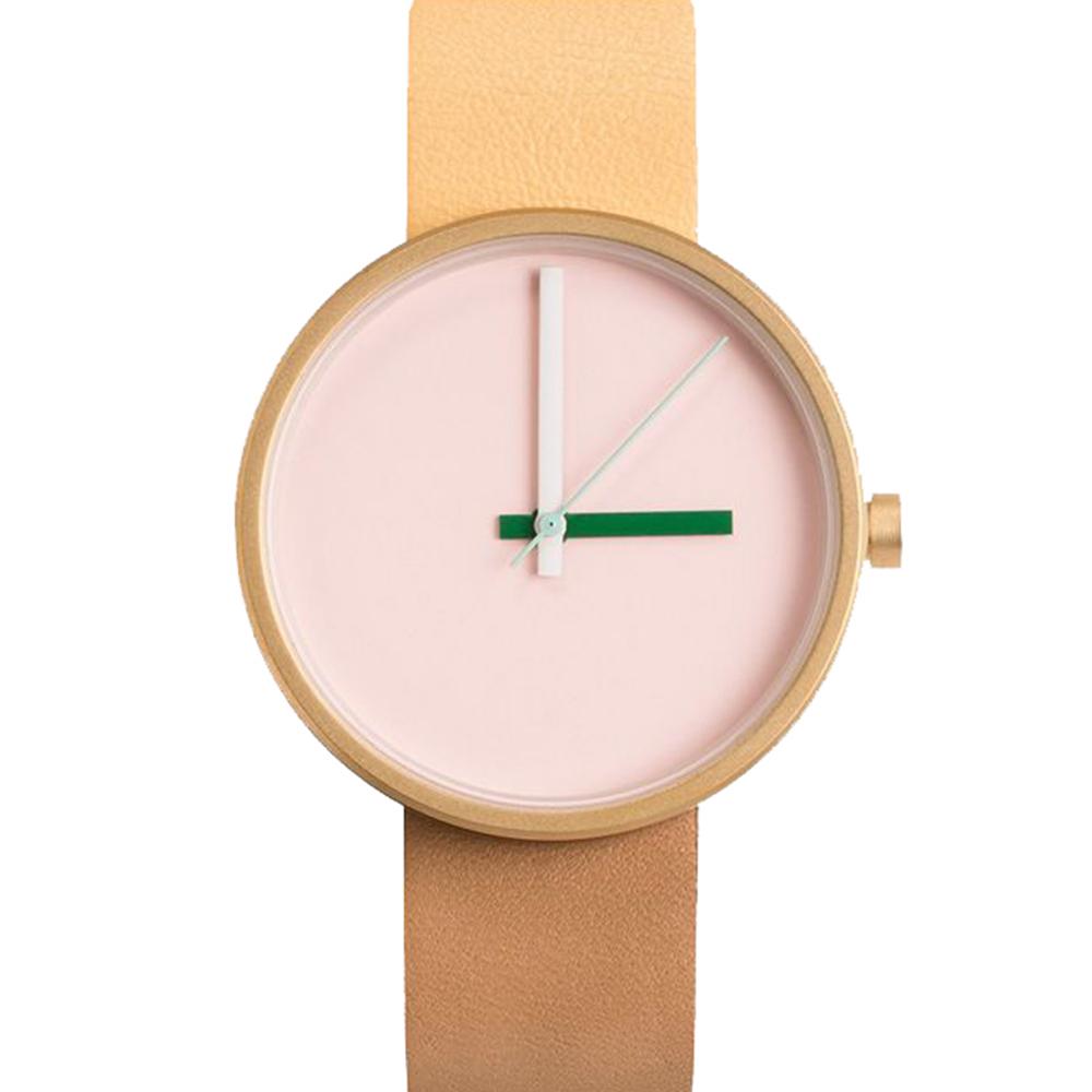 AÃRK 時尚早安城市真皮革腕錶 -淺粉色/38mm @ Y!購物