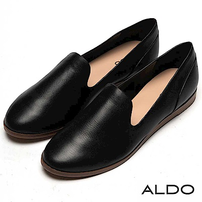 ALDO 原色真皮鞋面木紋平底休閒鞋~尊爵黑色