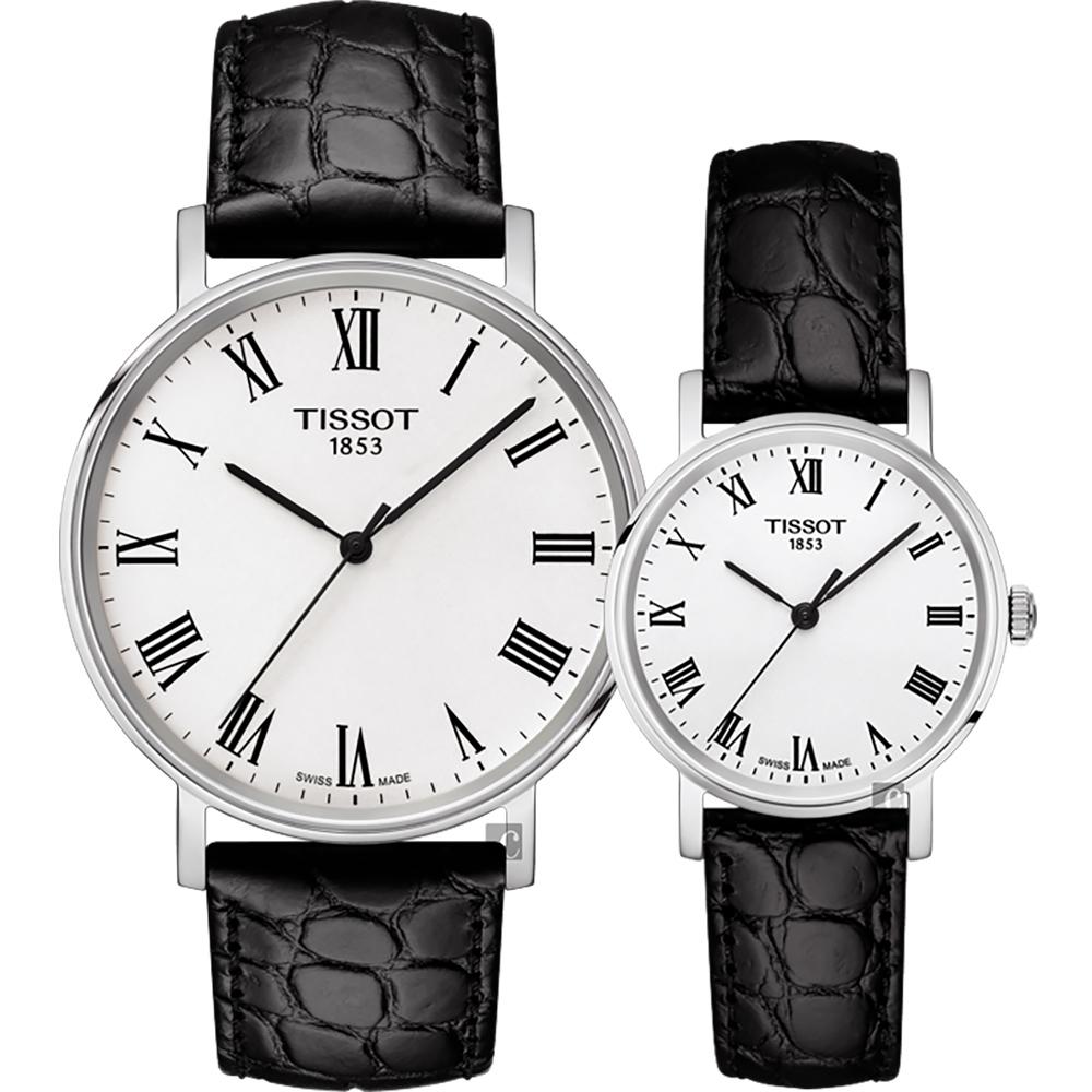 TISSOT 天梭 Everytime 羅馬經典對錶-銀x黑/38+30mm