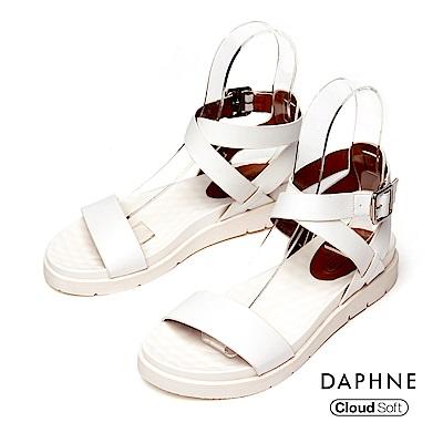 達芙妮DAPHNE 涼鞋-簡約繞踝一字帶雲軟厚底涼鞋-白色