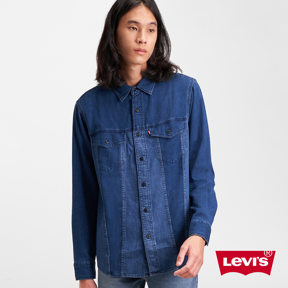Levis 男款 牛仔襯衫 寬鬆休閒版型 精工藍染拼接 混血經典外套設計