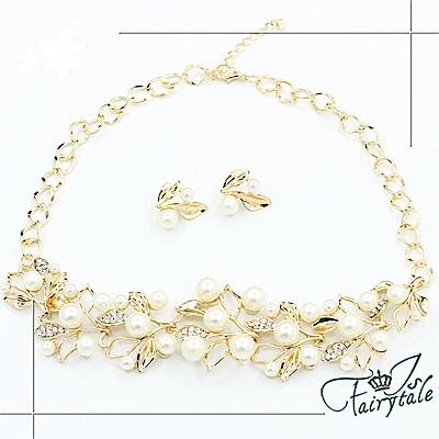 iSFairytale伊飾童話 珍珠葉片 奢華水鑽項鍊耳環二件套組 金