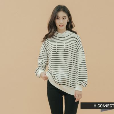 H:CONNECT 韓國品牌 女裝-休閒條紋抽繩帽T-白
