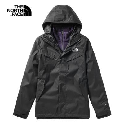 The North Face北面男款黑色防水透氣戶外三合一外套 46JL1ZD
