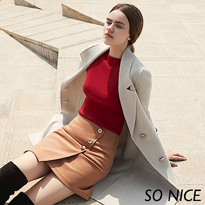 SO NICE氣質金屬釦絨感造型短裙