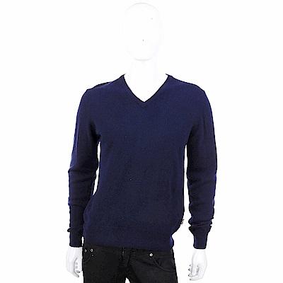 DAKS 美麗諾羊毛深藍色V領針織衫