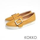 KOKKO - 香格里拉麻繩方扣真皮厚底懶人鞋-乳酪黃