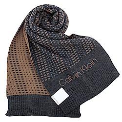 Calvin Klein CK 極線動感個性LOGO針織圍巾-灰色