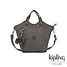 Kipling 極簡深卡其灰色輕盈大容量提斜背包-NORI
