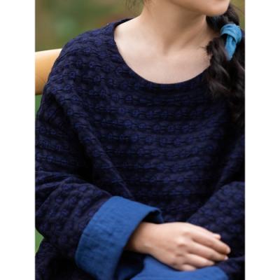 旅途原品_無風_復古羊毛禪意袍子連衣裙- 深藍色