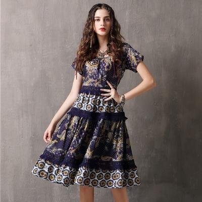 米蘭精品 短袖洋裝連身裙-印花拼接花邊圓領女裙子74ad48