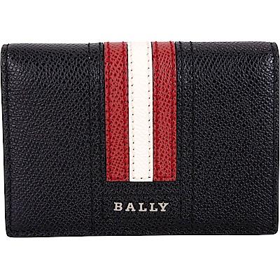 BALLY TARDS 經典紅白條紋牛皮皮夾式卡片夾(黑色)