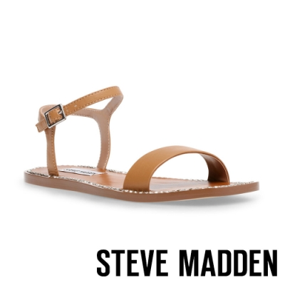 STEVE MADDEN-NICKEL 亮邊一字帶繞踝平底拖鞋-卡其棕