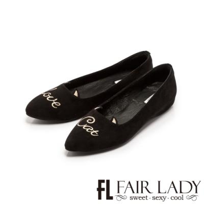 FAIR LADY 刺繡字母內增高尖頭平底鞋 黑