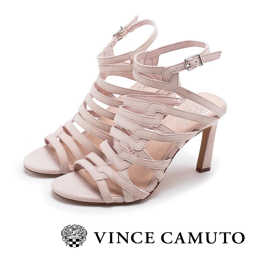 VINCE CAMUTO 柔軟牛皮經典繫帶高跟鞋-粉色