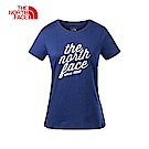 The North Face北面女款藍色透氣休閒短袖T恤|3LBFN1P