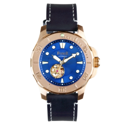 FIBER|海洋潛將系列|機械潛水錶 鏤空玫瑰金x藍