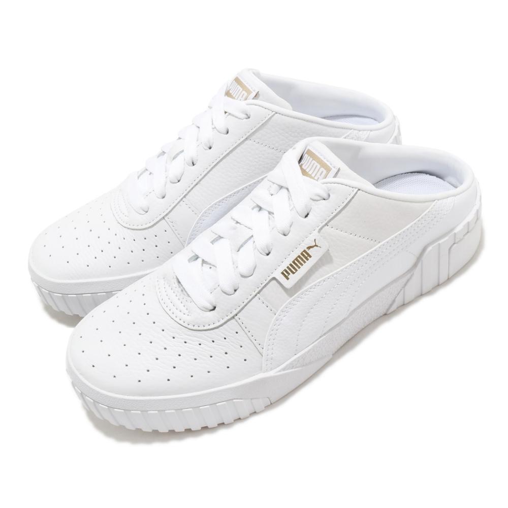 Puma 休閒鞋 Cali Mule 套腳 穿搭 女鞋 海外限定 輕便 舒適 簡約 皮革 質感 白 金 37183601