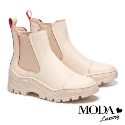 短靴 MODA Luxury 童趣潮流跳色線條牛皮厚底短靴-紅