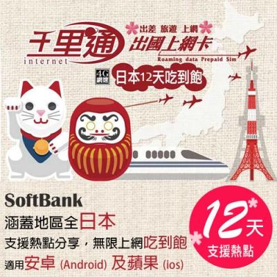 日本上網卡 日本網卡 日本SIM卡 12日無限上網吃到飽不降速