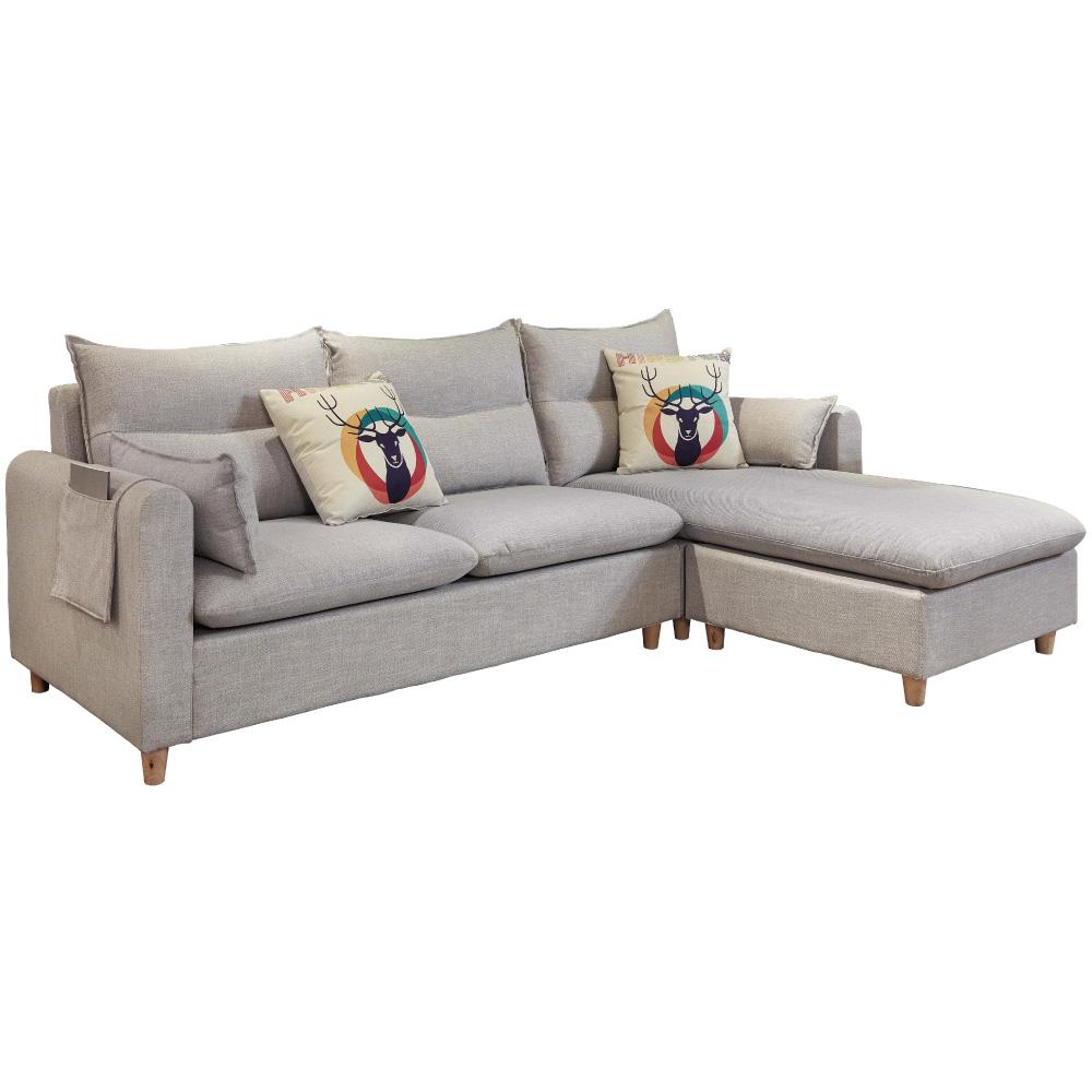 文創集 雷德拉北歐灰亞麻布L型沙發組合(三人沙發+貴妃椅凳)-239x157x74cm免組