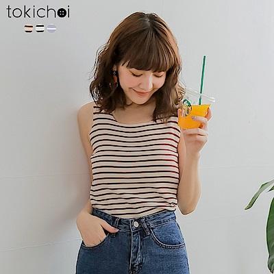東京著衣 簡約百搭條紋多色彈力針織背心(共三色)