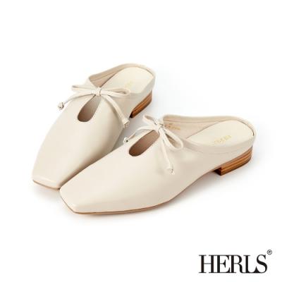HERLS穆勒鞋-全真皮蝴蝶結鏤空方頭穆勒鞋拖鞋-米色