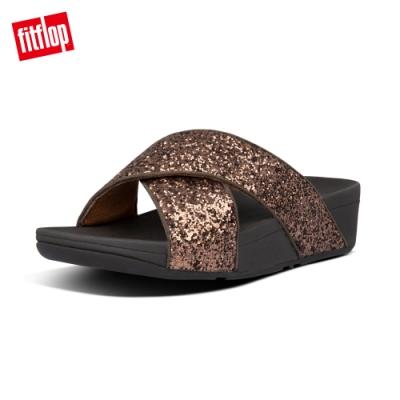 FitFlop LULU SLIDES 經典亮片交叉涼鞋-女(巧克力棕)