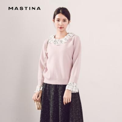 【MASTINA】碎花荷葉邊假兩件式-針織衫(三色)