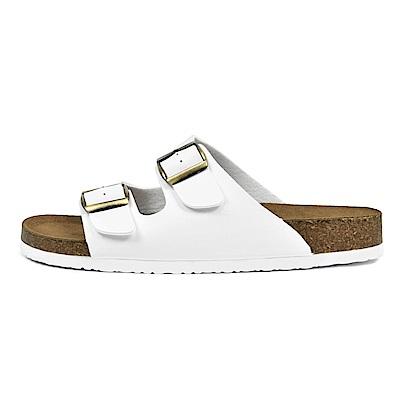 BuyGlasses 韓國 雙排扣 皮革 涼拖鞋-白